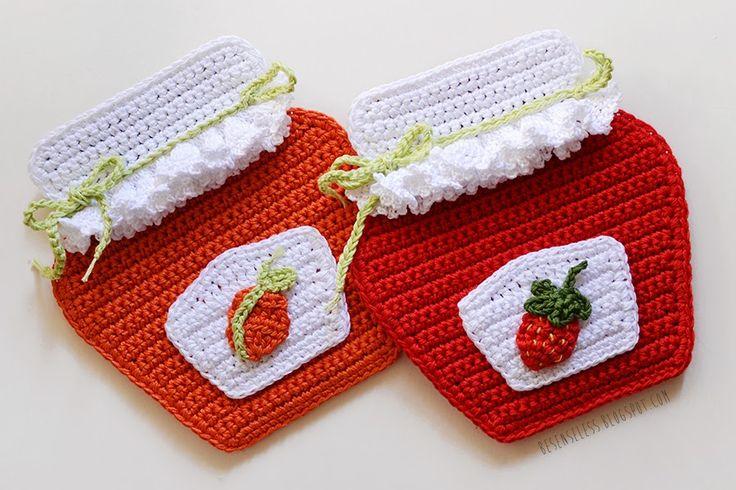Crochet jam's jar -Inspiracion ༺✿ƬⱤღ  https://www.pinterest.com/teretegui/✿༻
