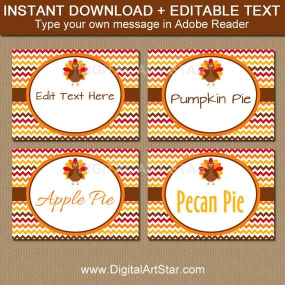 Fall Place Cards Printable Turkey Labels Editable Thanksgiving Buffet Cards Food Label Template Food Tents Turkey Template T3 Food Label Template Thanksgiving Place Cards Printable Food Tent