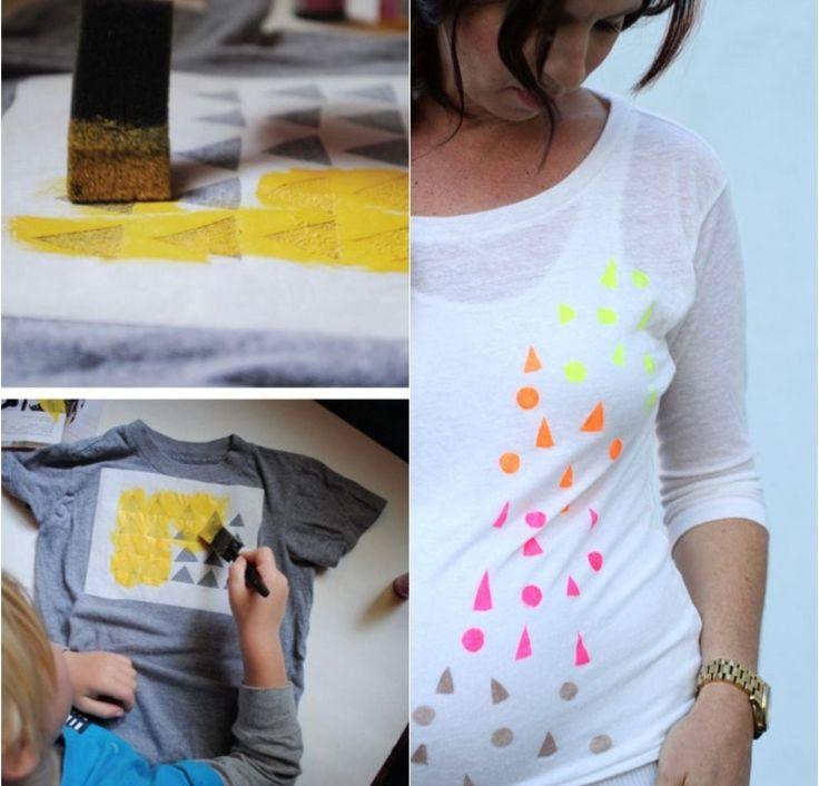 Kreise und Dreiecke auf T-Shirt mit Textilfarbe bemalen