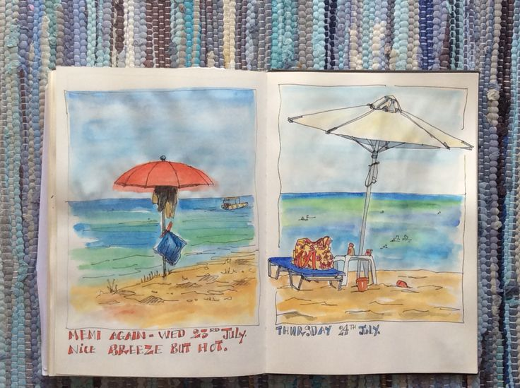 Sketching on the beach - Memi beach near Koroni, Southern Peloponnese.