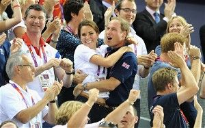The Duke and Duchess  of Cambridge embrace after Philip Hindes, Jason Kenny and Sir Chris Hoy of Great Britain won the gold and a new world record in the Men's Team Sprint Track Cycling final in the Velodrome on 2 August 2012
