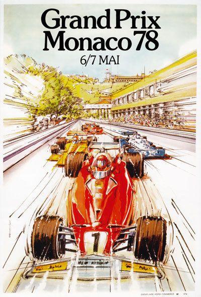 Az11 Vintage 1978 Monaco Grand Prix Classic Motor Racing Poster Reprint A2 A3 A4 Racing Posters Auto Racing Posters Grand Prix Posters