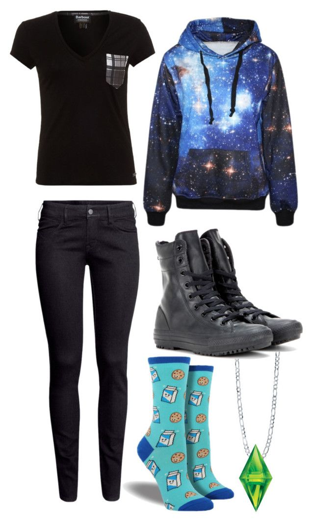 """Dil Howlter (Dan and Phil)"" by indyrose15 ❤ liked on Polyvore featuring Barbour, BERRICLE, H&M and Converse"