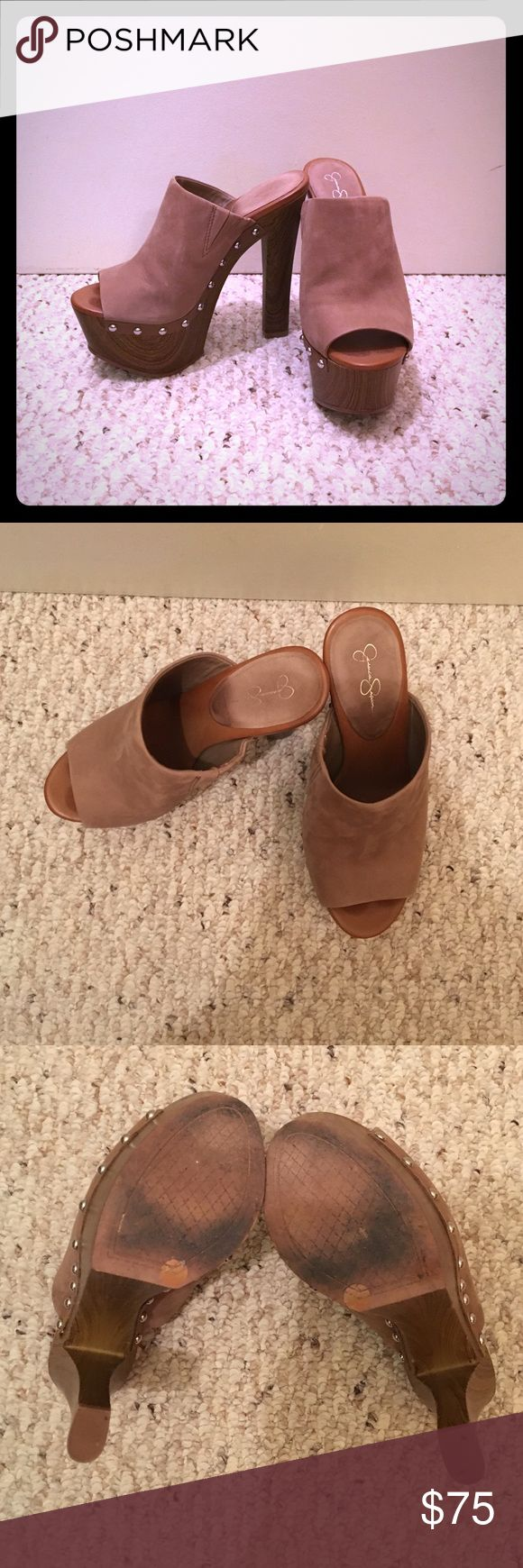 Jessica Simpson Platform Mules Worn once (threw out the box and tags), but in very good condition. Jessica Simpson platform mules (5 inch heel) in a good neutral colour with stud details on sides. Jessica Simpson Shoes Platforms