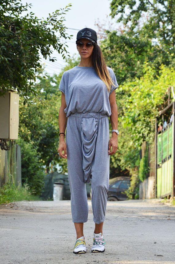 Gray Cotton Jumpsuit With Long Zipper Extravagant Jumpsuit