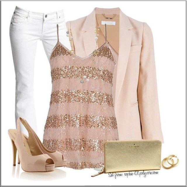 Turn a pair of casual white jeans into cocktail attire by adding a jacket and top in metallic shades. This stylish pretty pink jacket with a soft pink and blush gold sequined top are summer wardrobe must-haves. If you are not a fan of wearing white jeans then choose a flattering bootleg jean in either stone or black.