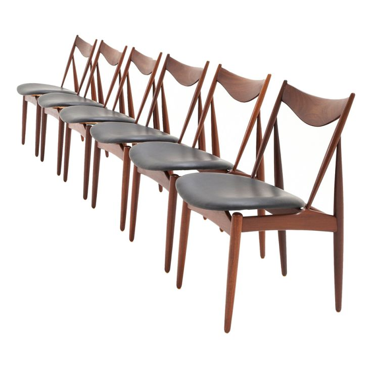 Very Elegant Set Of 6 Dining Room Chairs By H.W. Klein In Black Leather