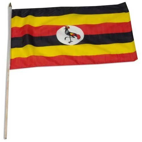 """Uganda Flag 12 x 18 inch by US Flag Store. $2.20. Low Cost Shipping Available!. Sewn Edges. Mounted to a 24"""" Wooden Stick. International 12in x 18in Stick Flag. Brilliant Colors Printed on Polyester Fabric. Uganda stick flag 12 x 18 inch, mounted on a 24 inch wooden stick. Flag is made from polyester and printed in bright colors to make an attractive flag. Each flag is individually sewn around the edges."""