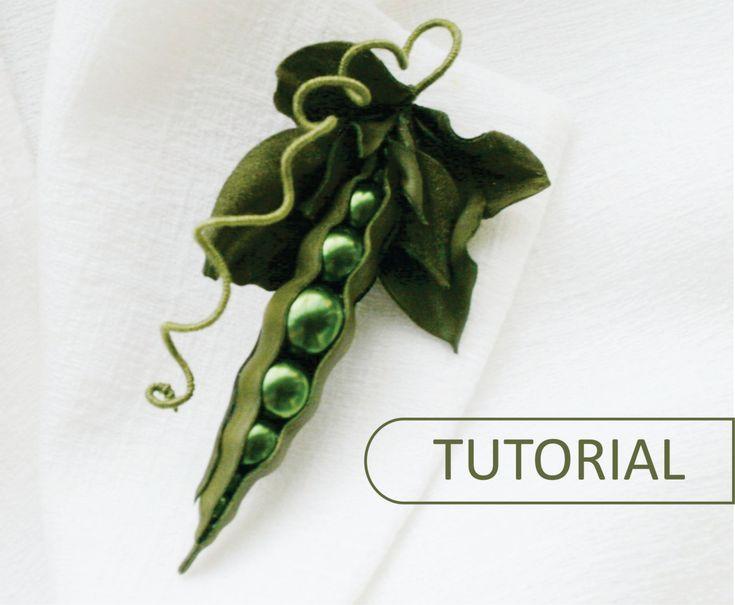 PDF Tutorial - Green Peas - leather brooch