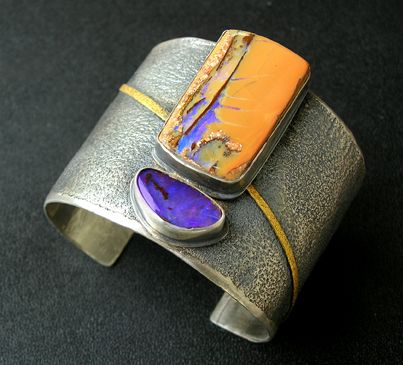 Patricia McCleery: Boulder opal and silver cuff