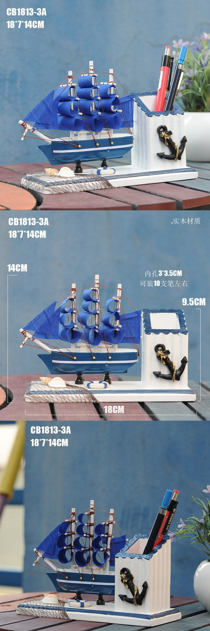 Sailing Mediterranean Style Creative Home Furnishings Birthday Gift Pen Wooden Decorations $12.5