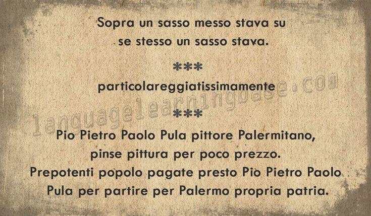 Scioglilingua (Italian tongue-twisters) - learn Other languages,italian,tonguetwisters