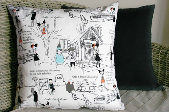 Zombie Apocalypse Cushion Cover White by BlossomvioletCrafts