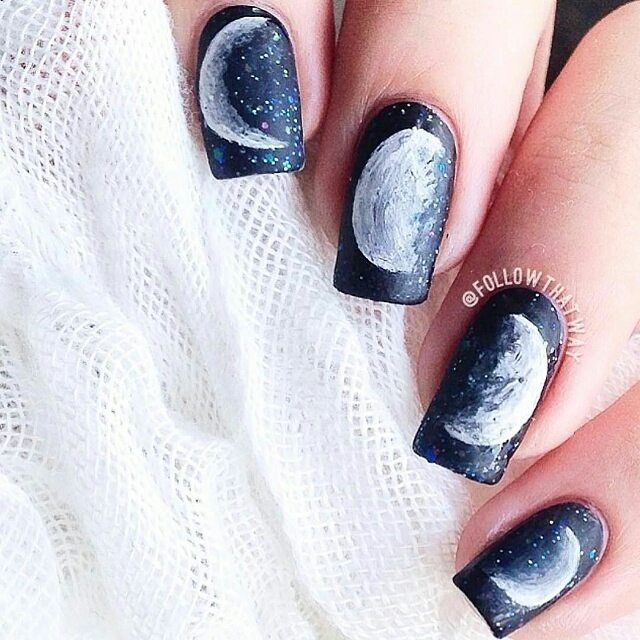 Beautiful Moon Nails by @followthatway #nailart Tag a friend!!! by nailsartvideos4u