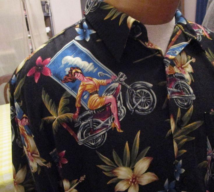 Pinup Girl Hawaiian Biker Shirt Mens Large Motorcycle Marc Edwards Shirt Black #MarcEdwards #ButtonFront