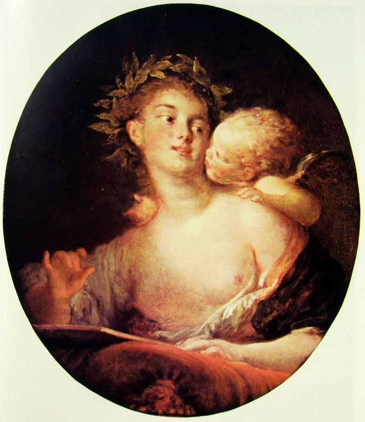 """Jean-Honorè Fragonard, """"Saffo ispirata da Cupido"""", 1773-76, olio su tela, 63 x 53 cm, è custodito a Lugano (Thyssen). In precedenza il quadro in esame apparteneva alla collezione Beeche."""
