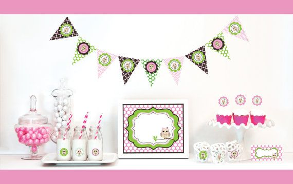 Pink Owl 1st Birthday Decorations  Girl Birthday Party by ModParty, $35.00