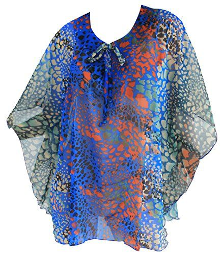 La Leela Animal Skin Printed Kaftan Short Beach Swim Cover-up Blue - Large. Do YOU want COVER UPS in other colors Like Red | Pink | Orange | Violet | Purple | Yellow | Green | Turquoise | Blue | Teal | Black | Grey | White | Maroon | Brown | Mustard | Navy ,Please click on BRAND NAME LA LEELA above TITLE OR Search for LA LEELA in Search Bar of Amazon. US Size : From Regular 14 (L) TO Plus Size 36W (6X) ➤ UK SIZE : FROM REGULAR 14 (M) TO 36 (XXXXXL) ➤ BUST : 64 Inches [ 162 cms ]➤ Length : 33…