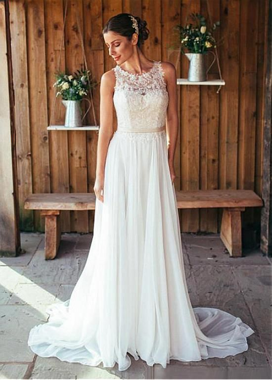 Attractive Chiffon Jewel Neckline A-line Wedding Dresses With Beaded Lace…