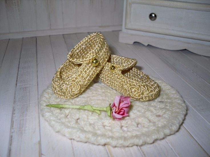Dianna Effner Little Darling gold crochet shoes embroidered with rose