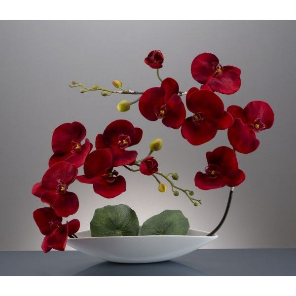 Barque blanche + 2x6 orchidées - Rouge