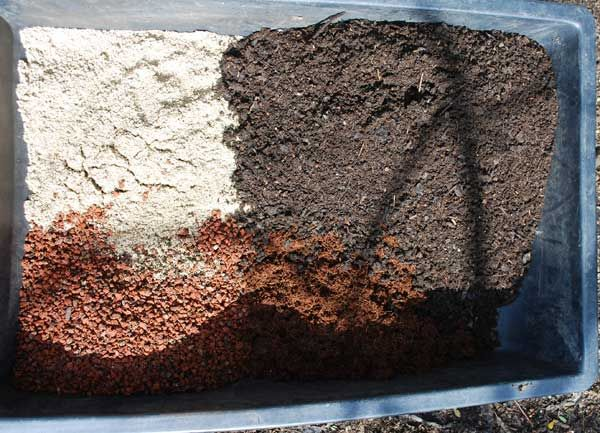 Basic Potting Soil Recipe, Clockwise from Left Corner: Coarse Sand, Compost, Rehydrated Coir, and Small Lava Rock