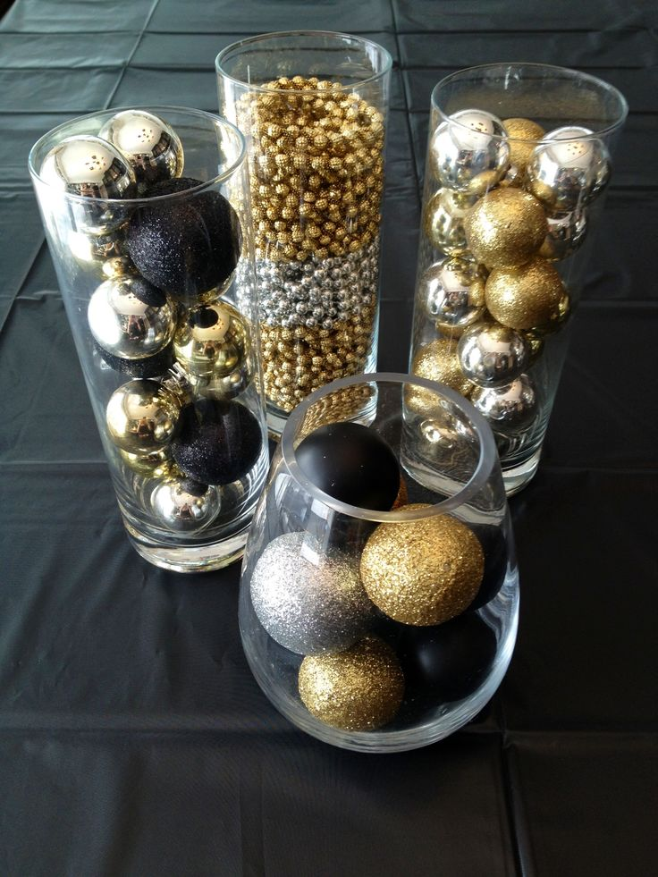 NYE decor. Christmas ornaments: