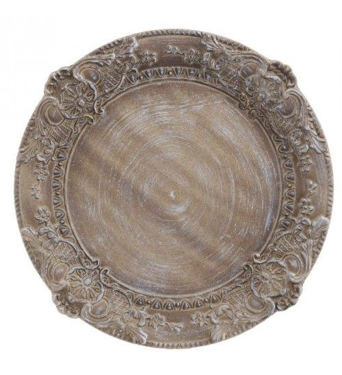 WOODEN PLATE IN ANTIQUE BROWN COLOR D35X2_5