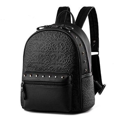 VINICIO Women's Fashionable Joker Preppy Style Unique Rivet Embossing Backpack Shoulders Bag(Black)
