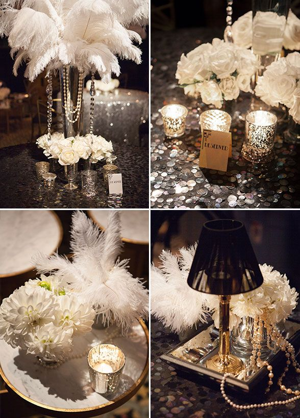 Feather, pearls and sparkles, you will find so many 1920's inspired details from this Great Gatsby themed party. Check out more images: http://www.colincowieweddings.com/articles/engagements-celebrations/great-gatsby-inspired-celebration