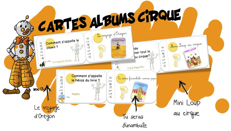 Cartes albums cirque : Orégon, mini-loup au cirque …etc | Bout de Gomme