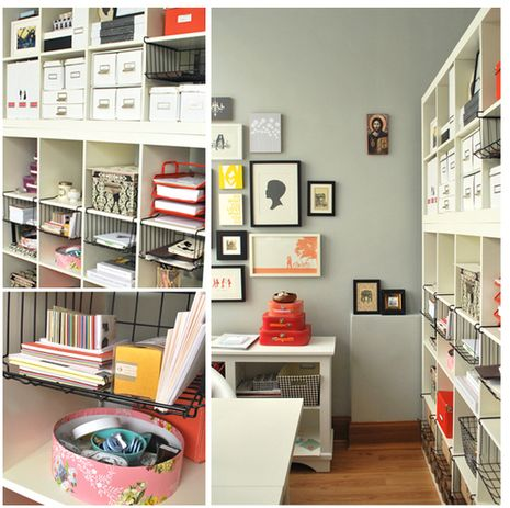 decorology: Inspiration and tips for organizing your craft space: Studios Spaces, Crafts Rooms, Storage Shelves, Organizations Home, Wire Baskets, Home Studios, Organizations Offices, Home Offices, Hanging Baskets