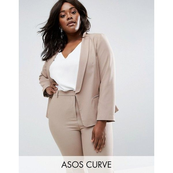 ASOS CURVE Blazer In Crepe With Slim Lapel ($32) ❤ liked on Polyvore featuring outerwear, jackets, blazers, beige, plus size, brown blazer, beige blazer, plus size blazer jacket, shoulder pad blazer and brown jacket