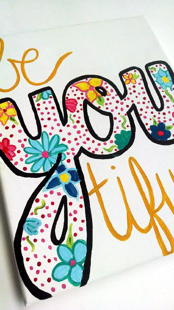 BeYOUtiful Canvas painting Beyoutiful sign College by EnglishBliss