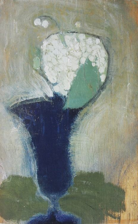 cavetocanvas: Helene Schjerfbeck, Lilies of the Valley in a Blue Vase II, 1929