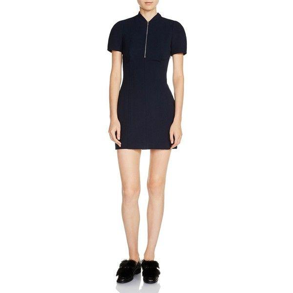 Maje Renyo Seamed Sheath Mini Dress (£344) ❤ liked on Polyvore featuring dresses, navy, short mini dress, navy sheath dress, navy short dress, short sheath dress and maje dress