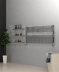 Show details for 1200mm Wide 600mm High Chrome Flat Towel Radiator