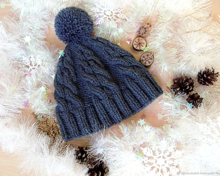"""Купить Шапочка """"Бон Помпон"""" - шапка для подростка, модная шапочка, шапочка вязаная, темно-серый"""