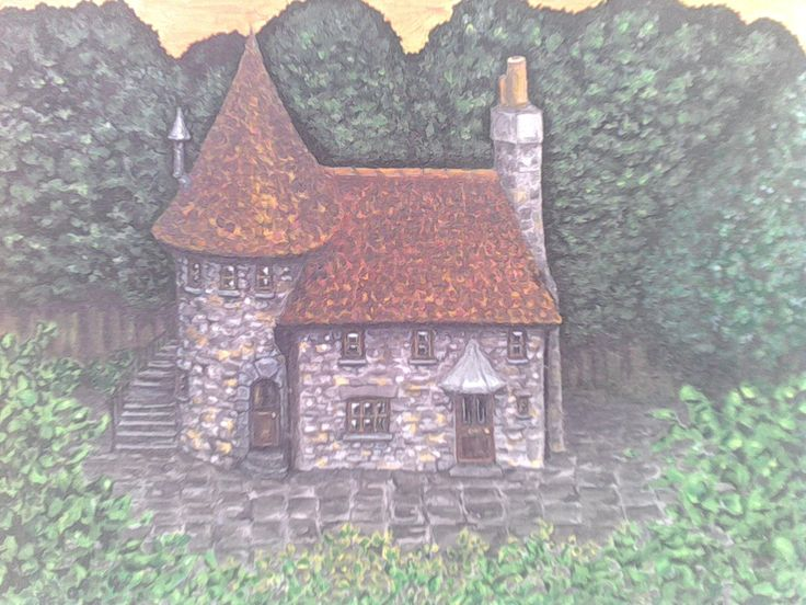 The enchanted cottage. acrylic on canvas. I love this painting so much. she entered it for a local art competition, but it knocked her confidence a bit when it didn't get in. in my opinion this really deserved a place. :) I know I couldn't paint like this