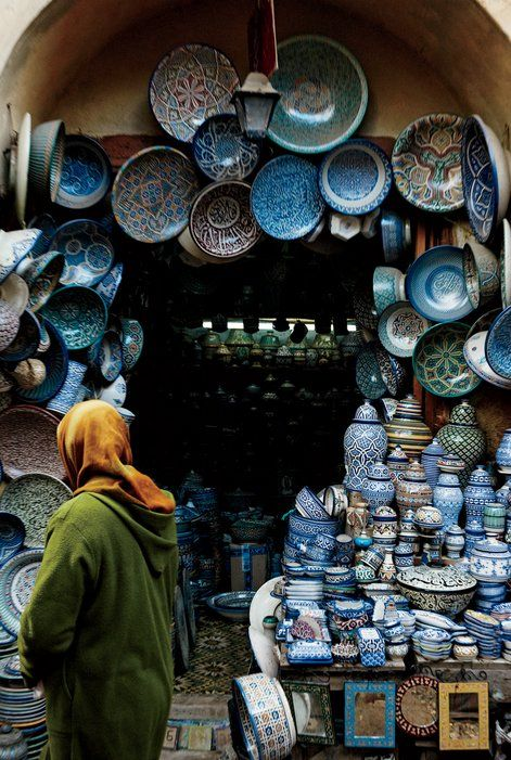 Traditional Fassi pottery on display at the Souk el Henna, a picturesque market in the medina.