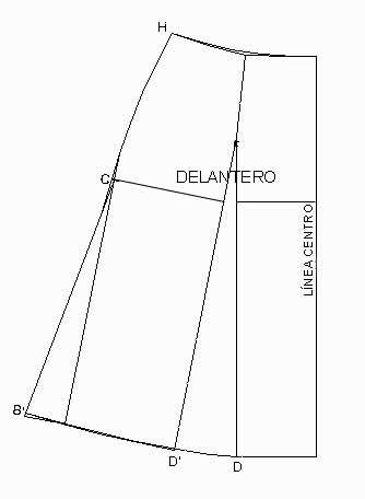 Falda Evase:Transformación de patrón Cortando de arriba abajo  por la línea de pinza,pegar la pinza dejando que el patrón se abra por la parte de abajo. Después por el lateral prolongar la línea de cadera en recto, redondear el bajo trasladando desde el alto de cadera (marcado como c) la misma longitud en todos los puntos