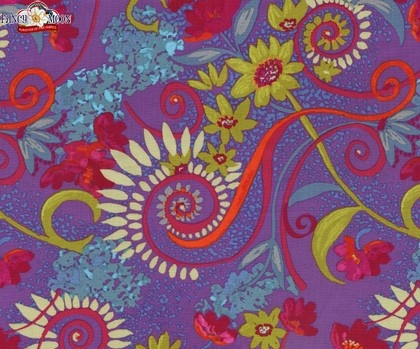 Katharine's Wheel Purple Cotton Fabric, Nel Whatmore, Free Spirit- fabric for a skirt/dress?