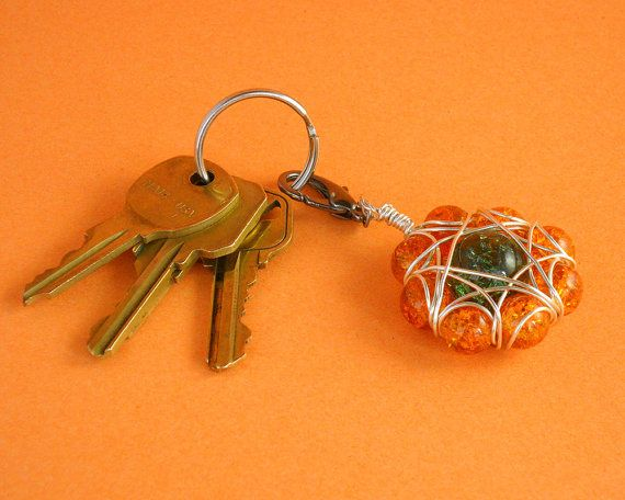 Orange and green cracked glass purse charm / zipper pull / key chain by TheBeadedCatsEye