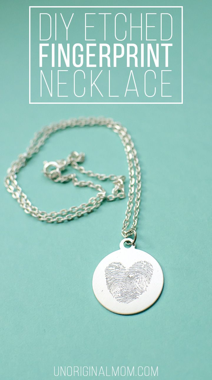 Make your own etched fingerprint necklace using your Silhouette curio! Such a neat idea to use your kid's fingerprints for a precious mother's day gift!