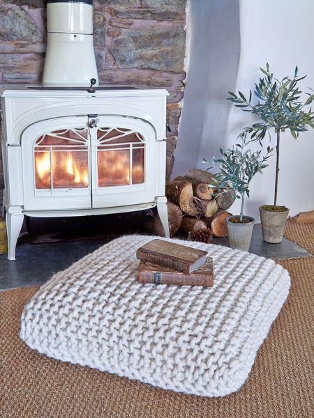 Chunky knit floor pillow
