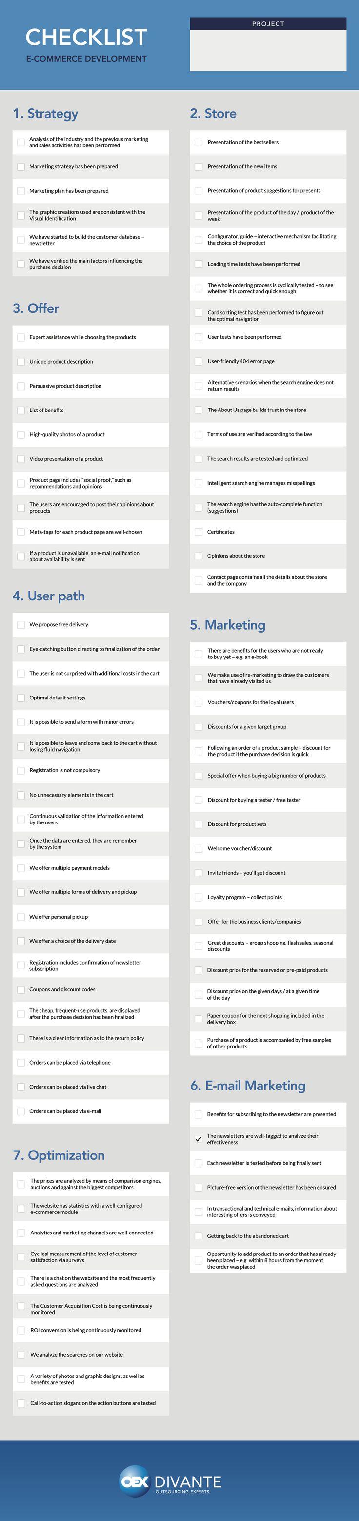 E-commerce Developement Checklist  #ecommerce #Strategy #Store #Offer #Marketing  #Optimization