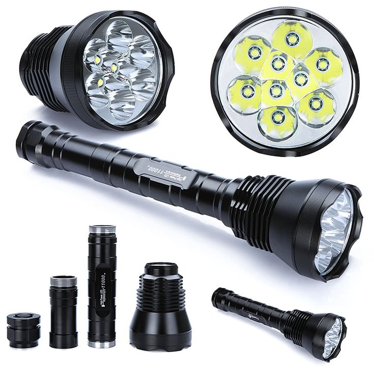 Lixada LED Flashlight Torch Powered by 9 * XM-L T6 11000 Lumens 5 Switch Modes White Light Sales Online Array - Tomtop
