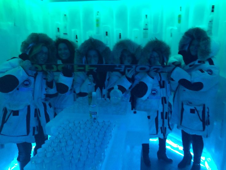 Lorraine Lea managers 'chilling out' in the Belvedere Vodka Ice room - Whistler