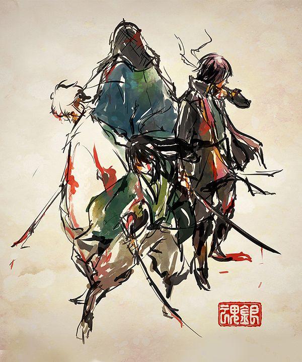 Gintama | 四人物語 | 烏鴨 [pixiv] http://www.pixiv.net/member_illust.php?mode=medium&illust_id=39450914
