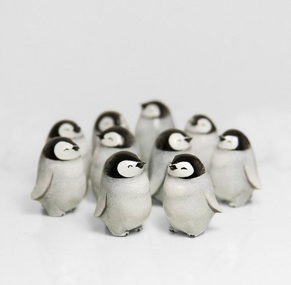 Baby Penguin Figurine Animal Totem OOAK Handmade Polymer Clay Sculpture